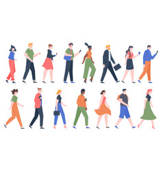 walking people business men and women walk side vector image