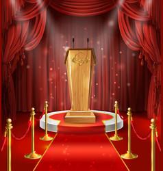 wooden tribune microphones podium red vector image
