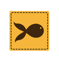Yellow emblem fish icon vector