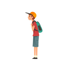 young man standing with backpack vector image