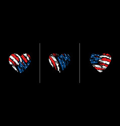 american flag in heart vector image