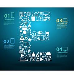 Application icons alphabet letters E vector image