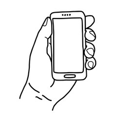 Left hand holding small mobile phone - vector
