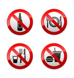 set prohibited signs - cafe vector image vector image