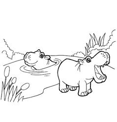 hippopotamus cartoon coloring pages vector image vector image