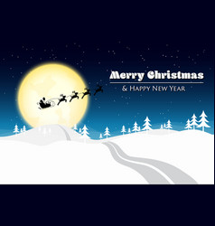 Merry christmas with santa silhouette on the moon vector