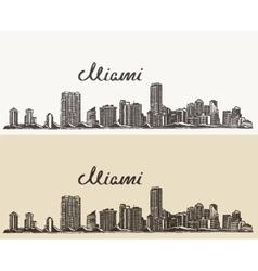 Miami skyline engraved hand drawn sketch vector image