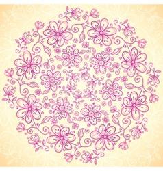 Pink doodle vintage flowers circle background vector image