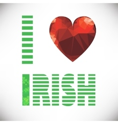 polygonal red glass heart St Patricks Day vector image