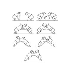 rikishi sumo wrestlers wrestling mono line vector image vector image