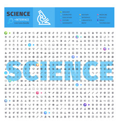science thematic collection of line icons vector image vector image