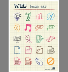 Business and media web icons set vector image vector image