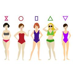 cartoon woman body shape different types set vector image
