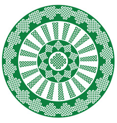 celtic mandala in white and green vector image vector image