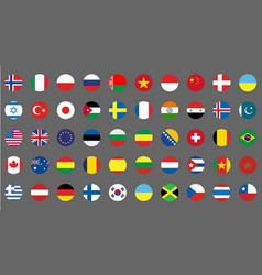Flags icons simple round flags of the countries vector