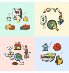 Internet shopping sketch vector image vector image