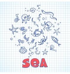Sea life elements vector image