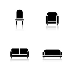 Soft furniture drop shadow icons set vector image vector image