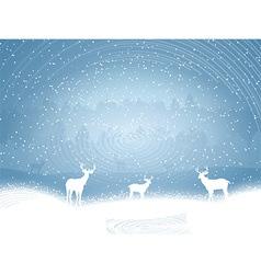 Winter landscape with deer vector image