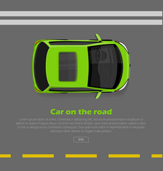 car on road conceptual flat web banner vector image