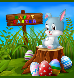 easter bunny and eggs in garden vector image