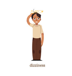 flat man with dizziness vector image vector image