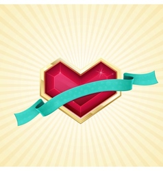 Golden Heart and Ribbon vector image vector image