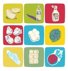 Hand drawn food icons vector image vector image