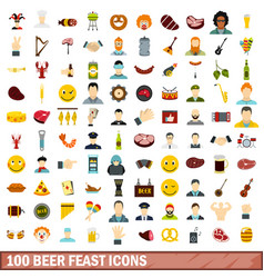 100 beer feast icons set flat style vector