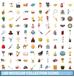 100 museum collection icons set cartoon style vector