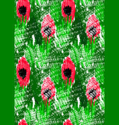 abstract red flowers on green with grunge vector image