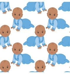 African American Infant Baby Boy Seamless Pattern vector