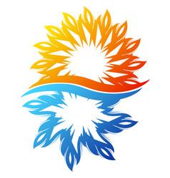 Air conditioning sun and snowflake symbol unique vector