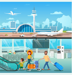 Airport interior family hall departure terminal vector