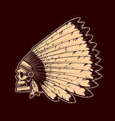 american indians skull on war bonnet headdress vector image