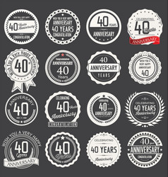 Anniversary retro label collection 40 years vector