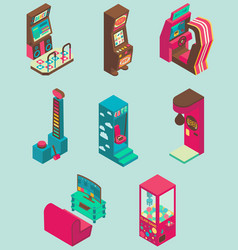 Arcade game machine icon set flat isometric vector
