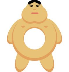 Asian man as a donut vector