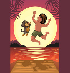 Boy and his dog jumping off the dock vector