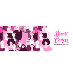 breast cancer month banner diverse pink women vector image