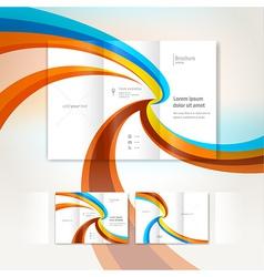 Brochure wave design template folder leaflet vector