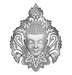 Buddha head on floral abstract pattern t-shirt vector