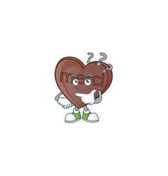 Cartoon character one bite love chocolate vector