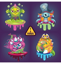 Cartoon virus set vector