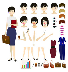 cartoon woman constructor set vector image vector image