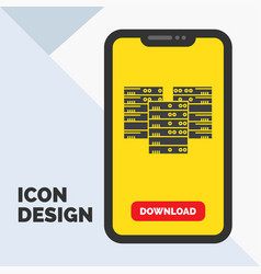 center centre data database server glyph icon in vector image