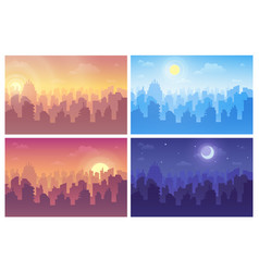 Change night and day set cityscape during vector