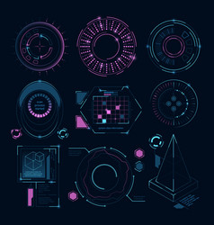 Circle futuristic shapes for digital web interface vector