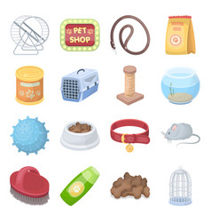 Collar pet food and other products pet shop set vector