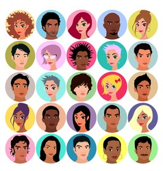 Collection female and male avatars vector